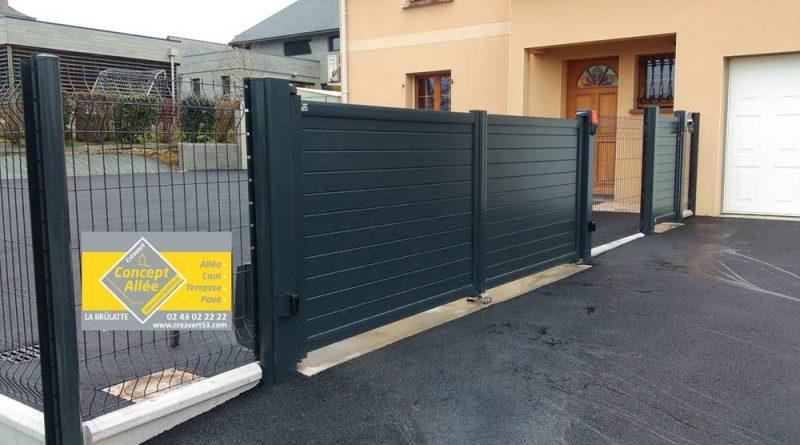 Fourniture et pose d'un grand portail électrique en aluminium et clôtures grillage à Laval